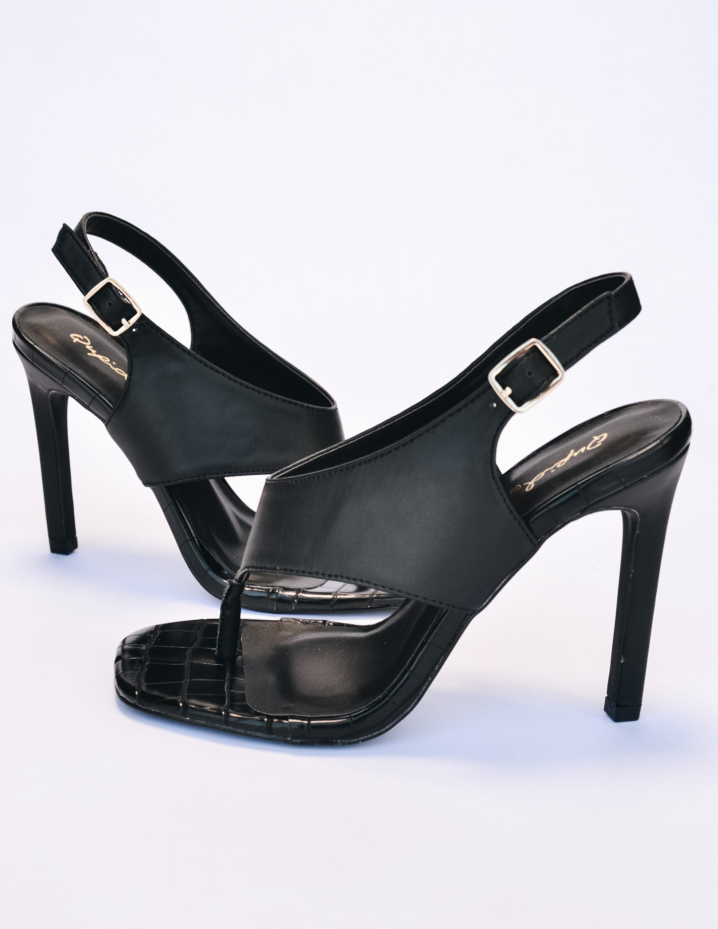 Side view of the club can't sandal me heel in black - elle bleu
