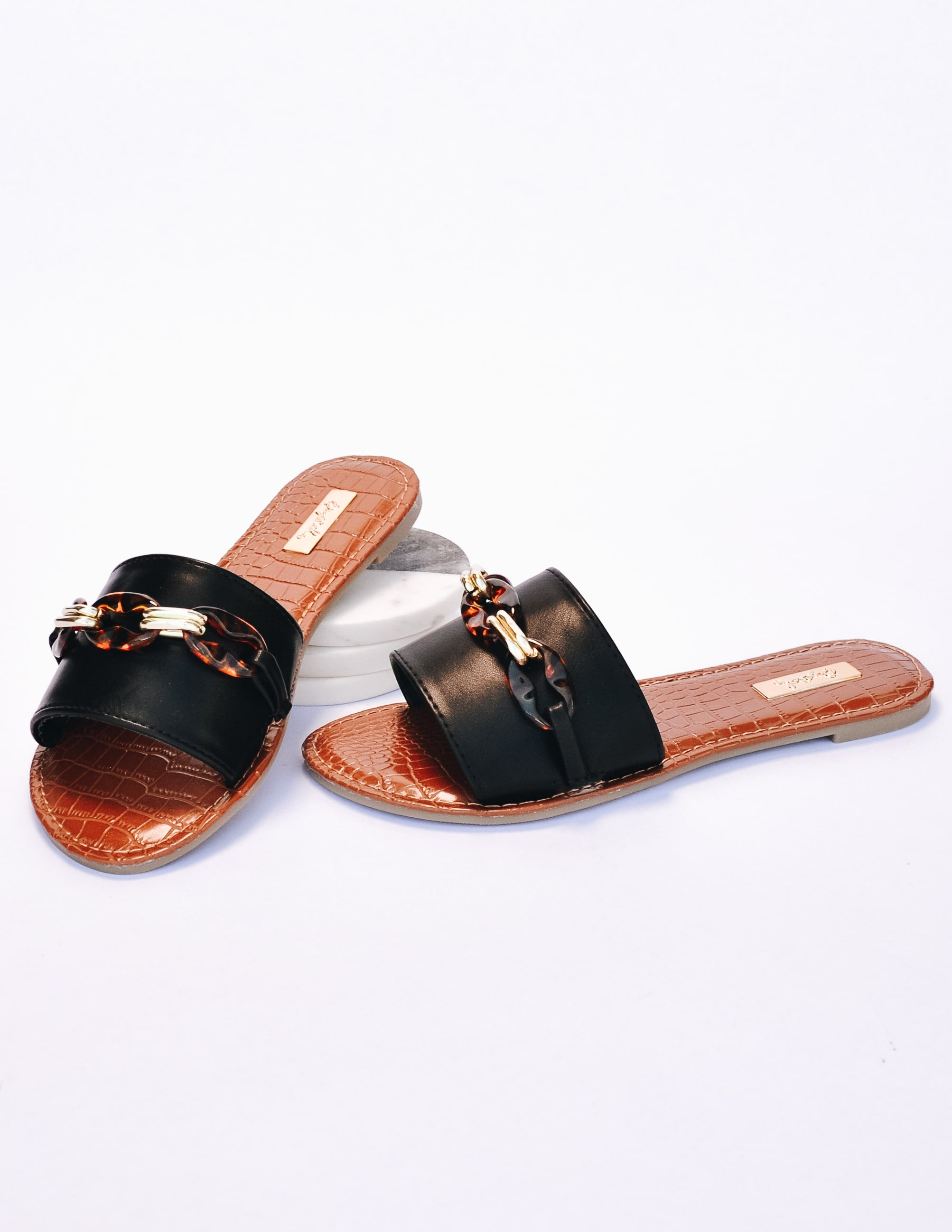 Tan insole faux croc slides with black upper and chain - elle bleu