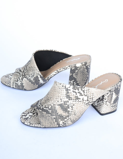 Python snake printed heel on white background - elle bleu shoes