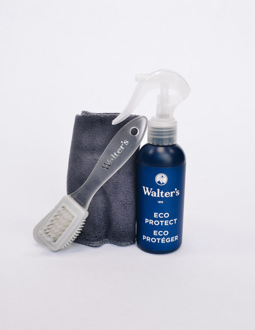 Walter's suede kit with brush, cloth towel, and eco protect bottle - elle bleu