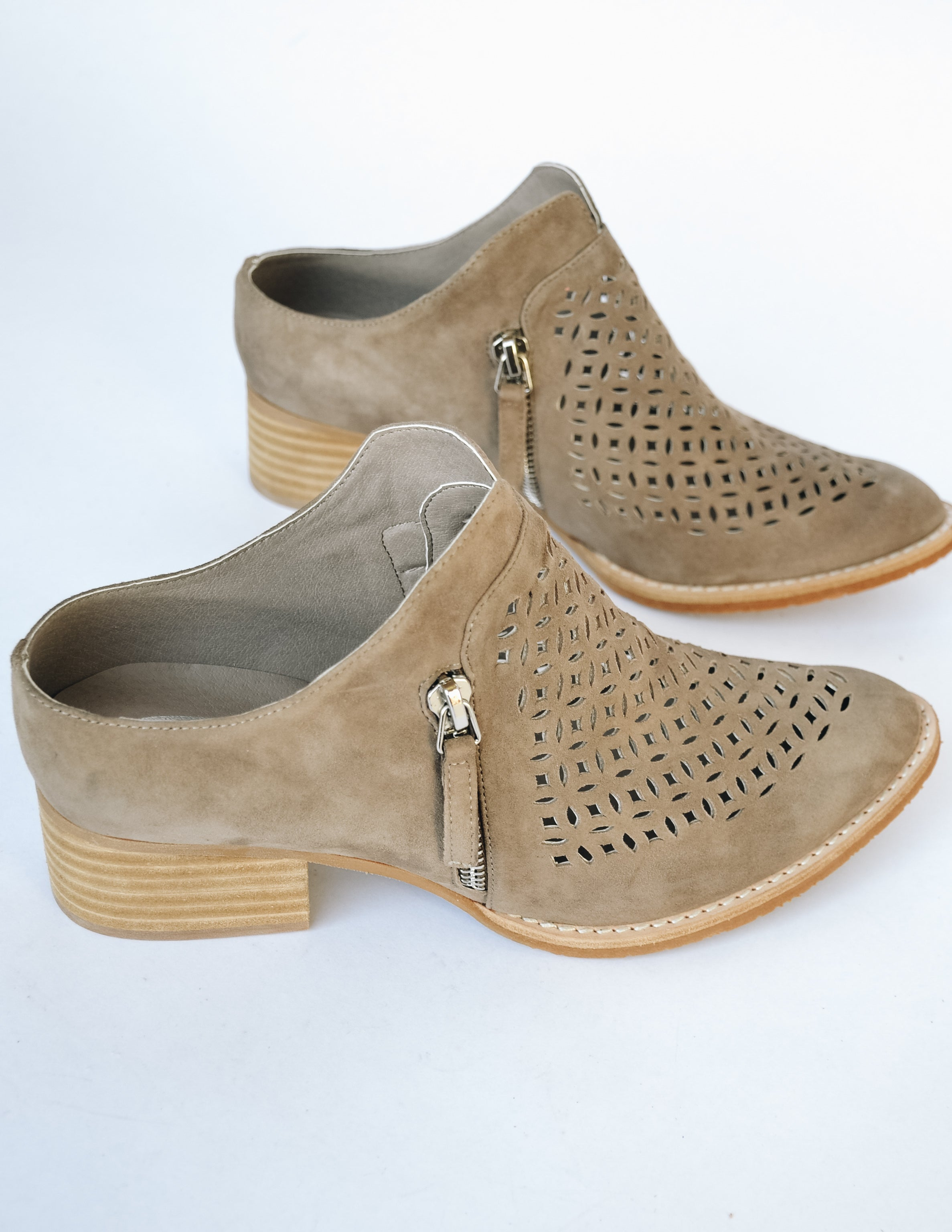 Taupe Taniss bootie with shallow lipped-back and wide foot opening - Elle Bleu Shoe Boutique