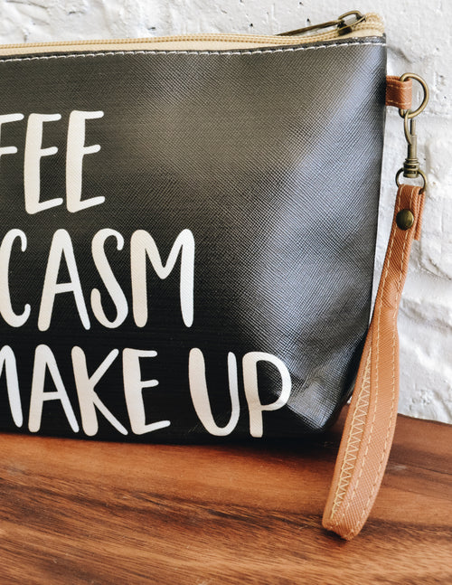 COFFEE SARCASM MAKEUP BAG - Elle Bleu Shoe Boutique