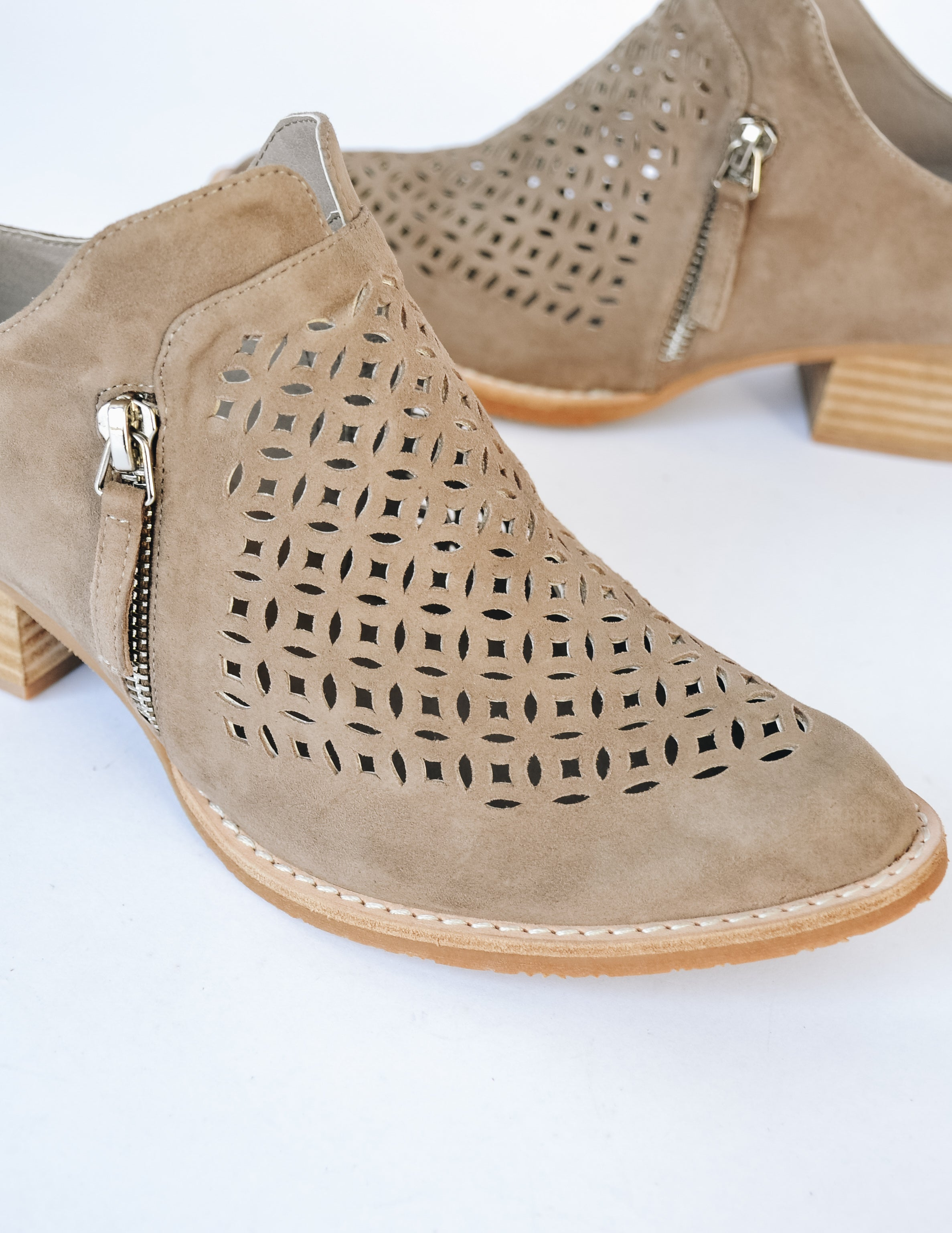 Taupe Taniss bootie with almond toe, wood sole, and faux zipper details - Elle Bleu Shoe Boutique