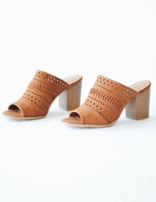 Chestnut brown faux suede shoe with faux wood stacked heel - elle bleu shoes