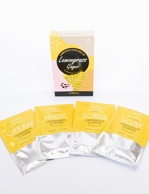 Lemongrass ginger 4 step pedi spa kit with 4 foil packs