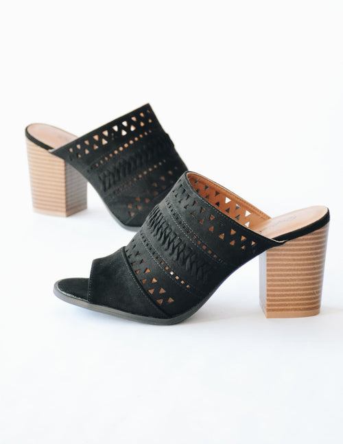 Black faux suede upper on faux stacked wood heel - elle bleu shoes