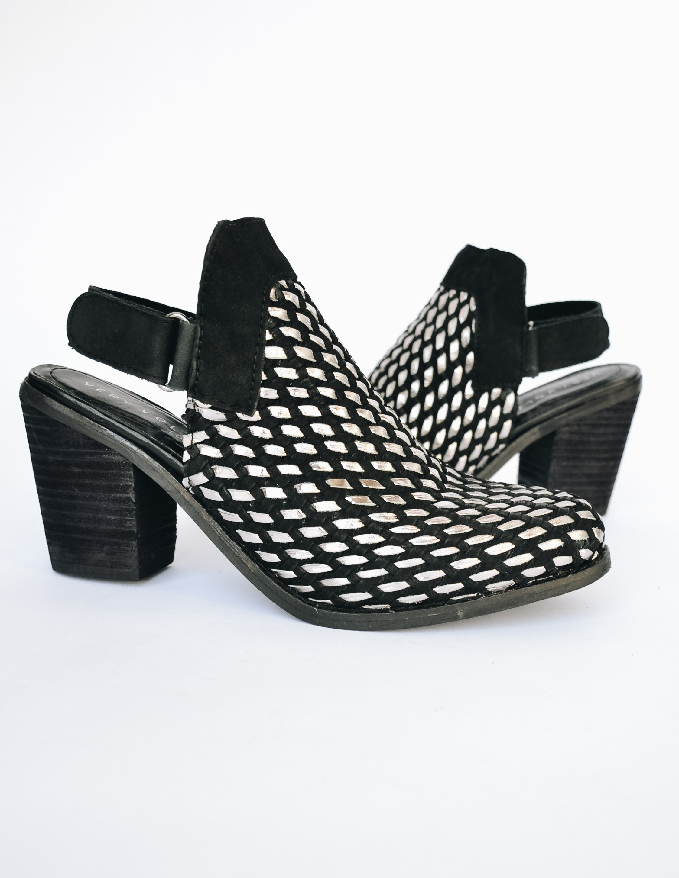 Black Sandara heel with black stacked wood heel and open back heel - Elle Bleu Shoe