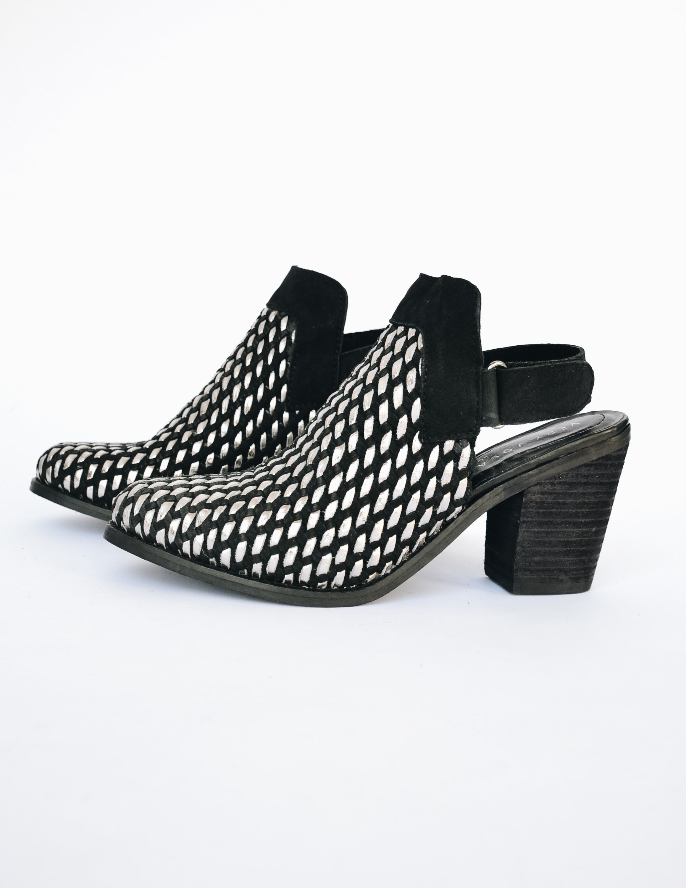 Black and silver woven Sandara heel with black velcro back strap on white background - Elle Bleu