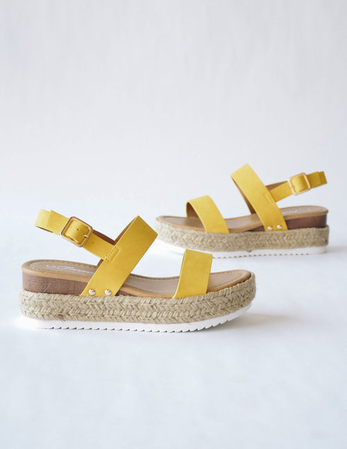 SUN TAN PLATFORM - Yellow - Elle Bleu Shoe Boutique