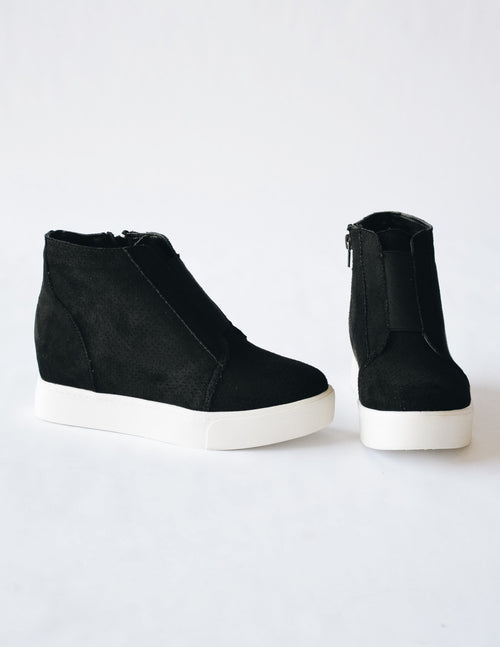 JET SETTER SNEAKER WEDGE - Black - Elle Bleu Shoe Boutique