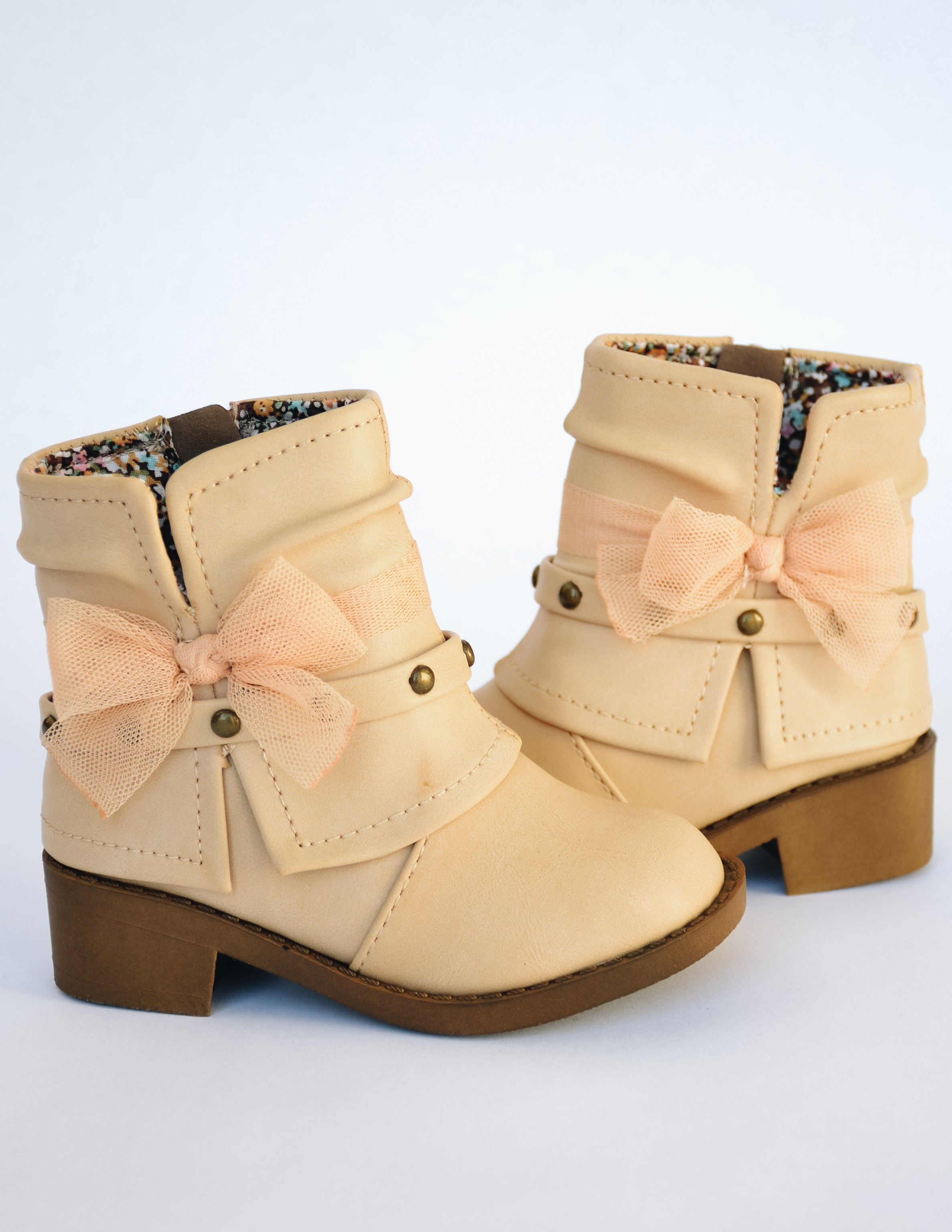 Toddler girl Nikki boot with stud strap, tulle bow, and side zipper - Elle Bleu Shoe Boutique