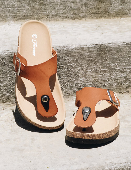 brown birthday suit slip on slide sandal on concrete steps - elle bleu shoes