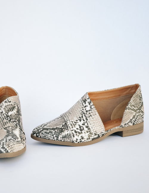 OPAL FLAT - Beige Brown Snake - Elle Bleu Shoe Boutique