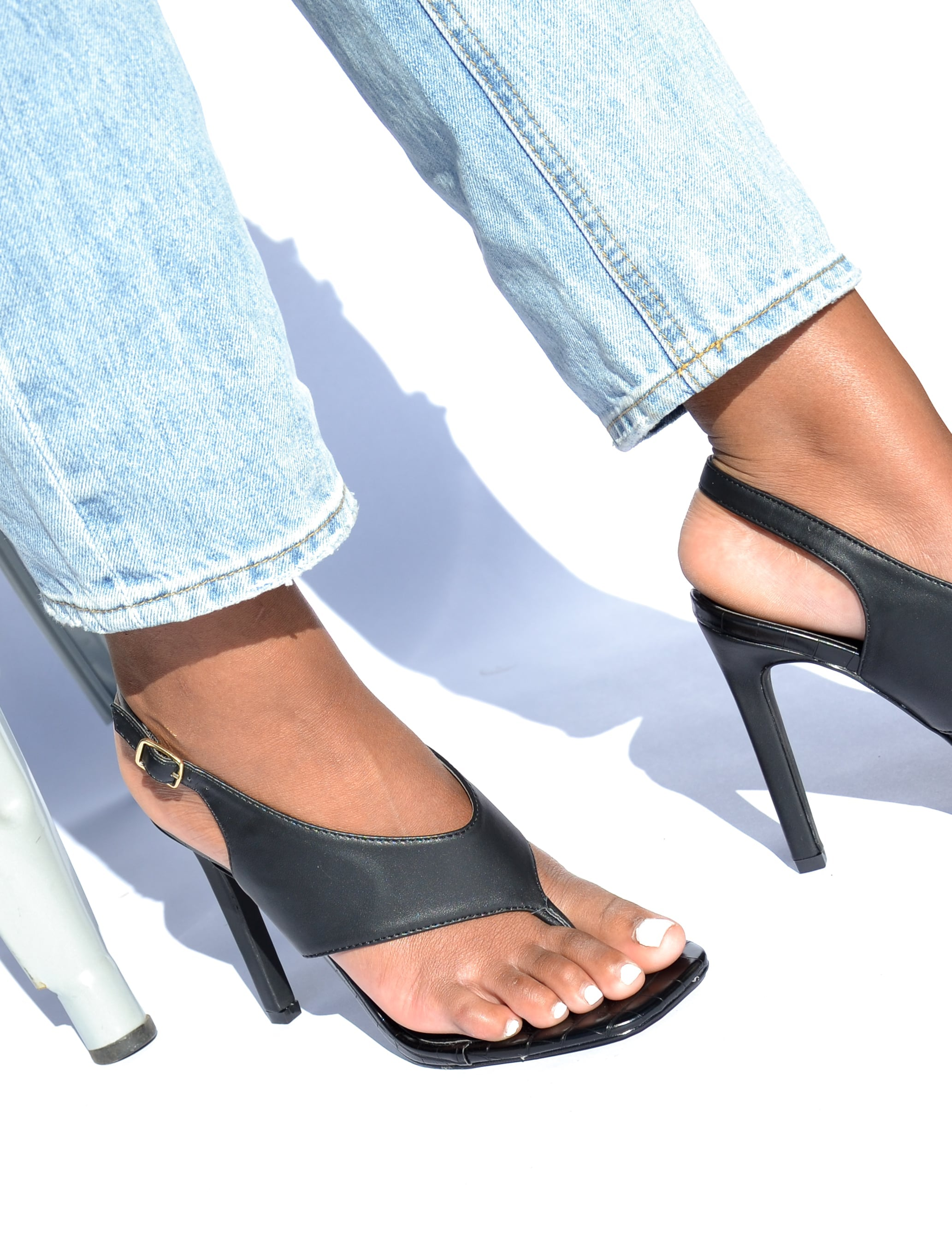 Black sandal open toe heels on model - elle bleu shoes