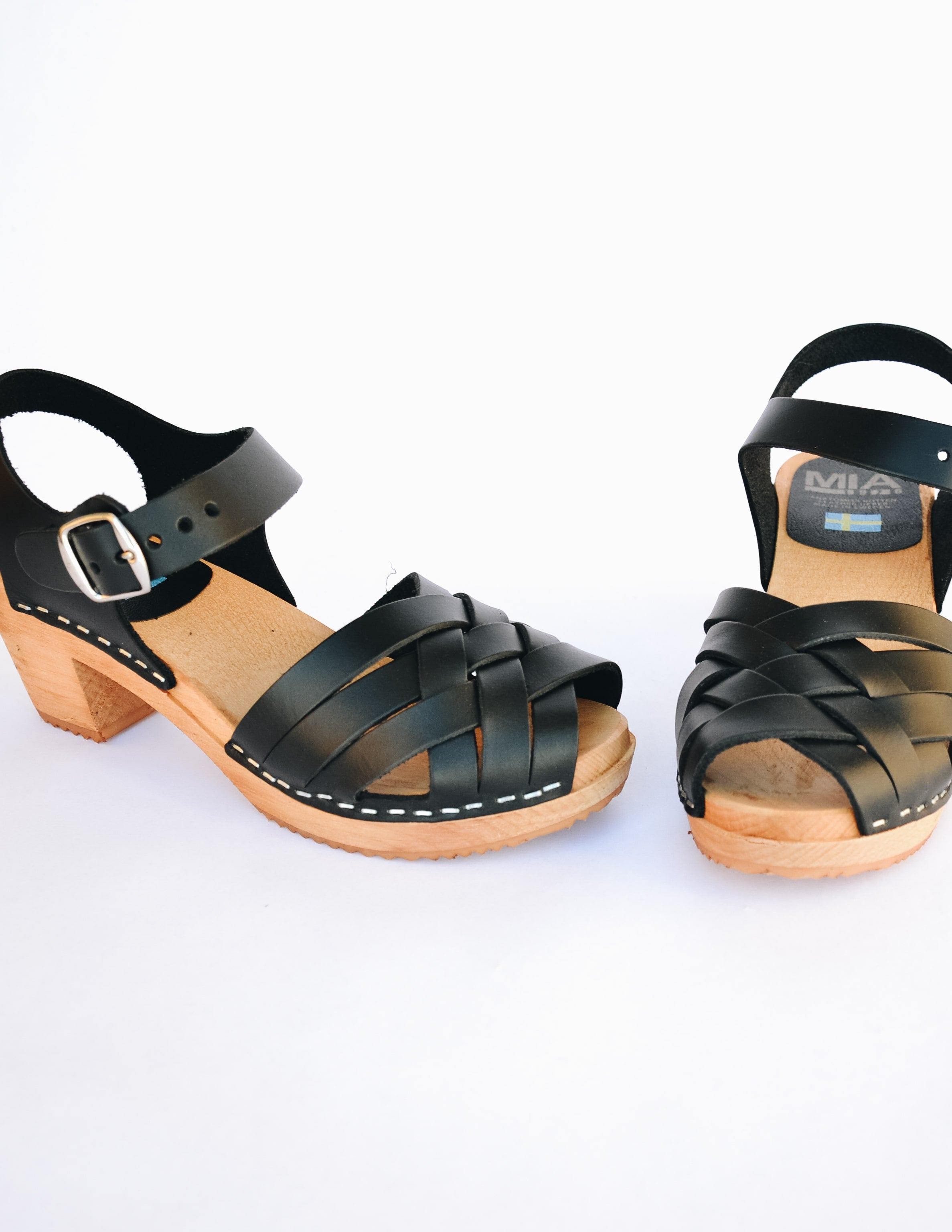 MIA black bety clog with tan wood sole and black leather upper