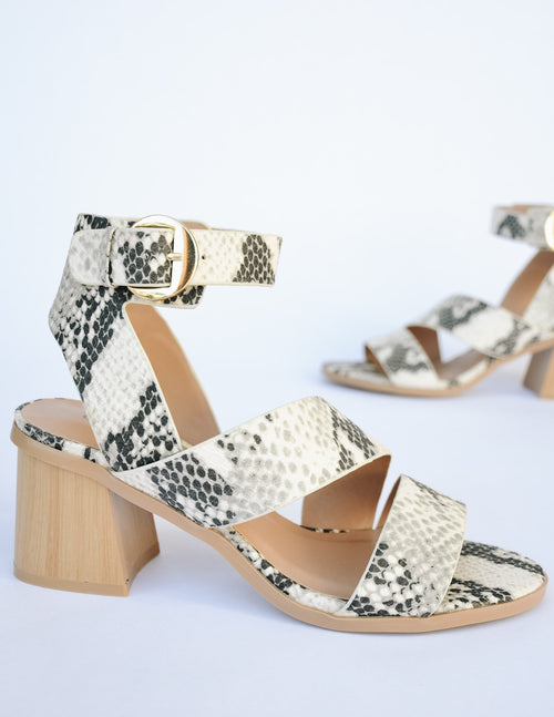 Snake strappy upper with white washed faux wood block heel and gold buckle