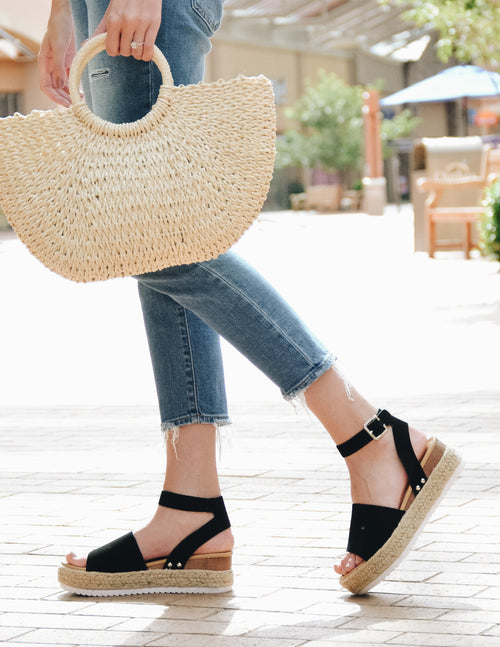 black aphrodite platform sandal with rope sole and white bottom