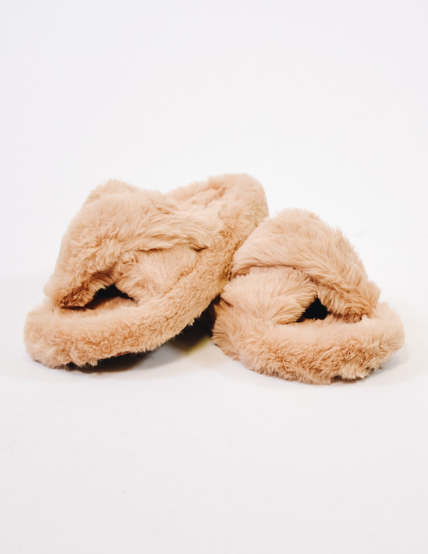 Comfy fur days slipper in natural stacked on each other - elle bleu shoes