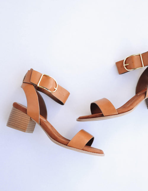 Camel strappy heel with brown insole and faux stacked wood heel