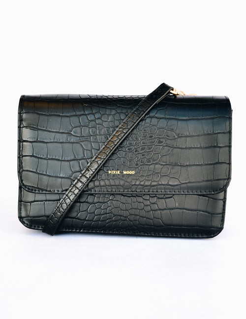 Black crocodile textured purse front of the jane purse wallet