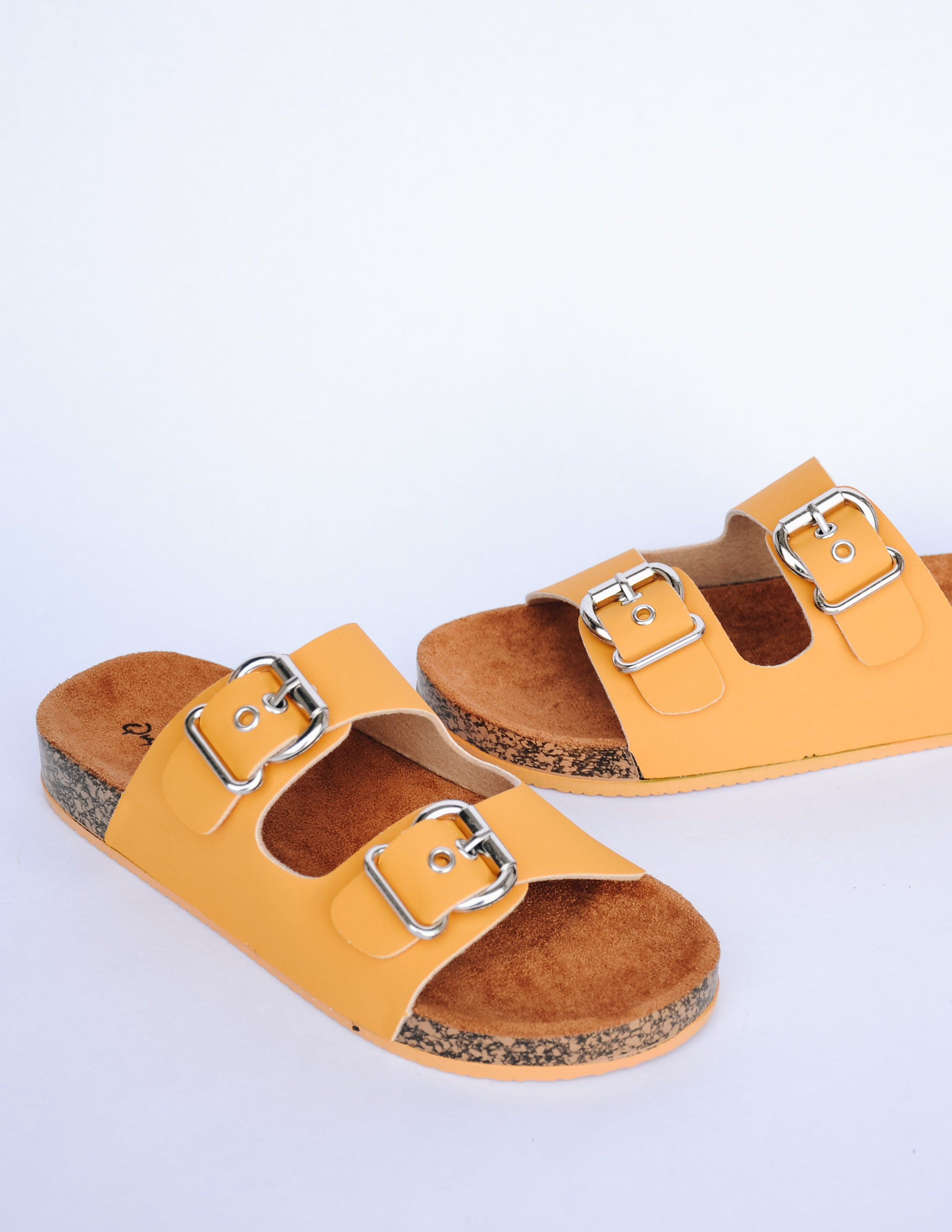 Mustard upper straps on faux cork sole with tan faux suede lining