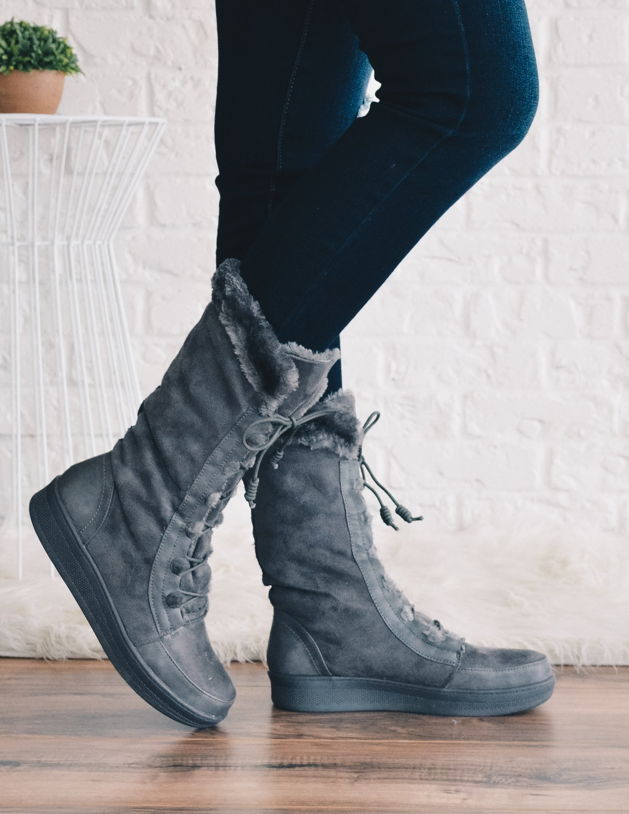 Grey marshmallow boots with fur trim and lace up closure - elle bleu shoes