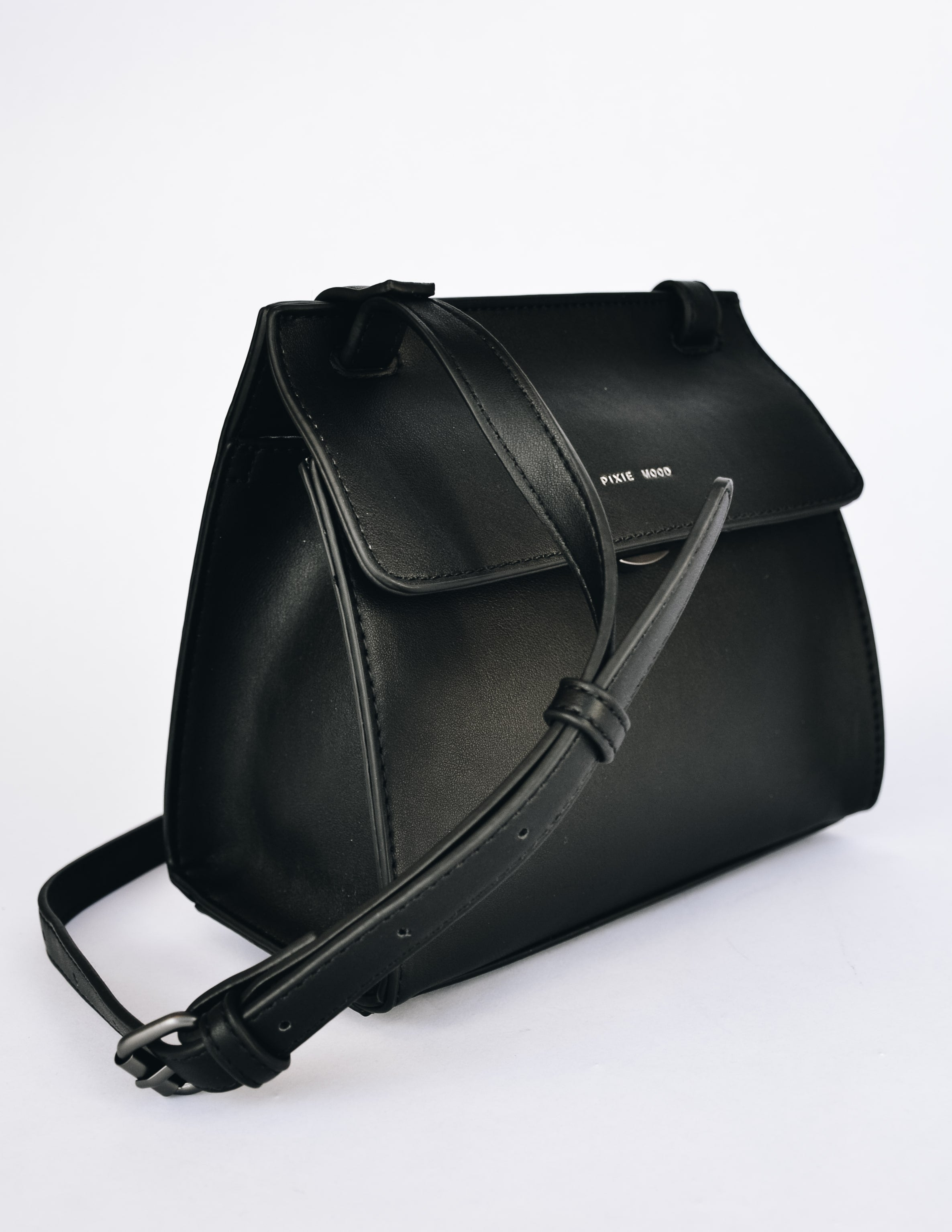 Black pixie mood christy crossbody bag showing adjustable shoulder strap