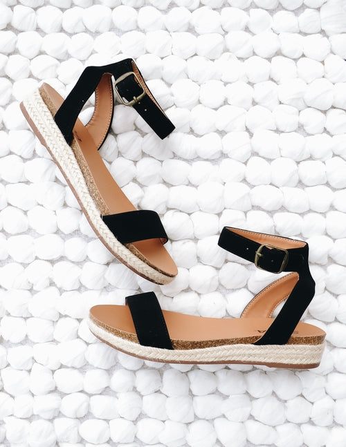 Black urban vacay sandal with rope trim and cork detail - elle bleu shoes