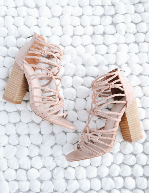 Rose pink strappy clara heels on white woven rug - elle bleu shoes