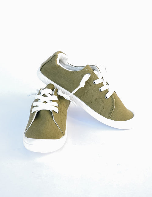 Olive green casual vibes sneaker on white background - elle bleu