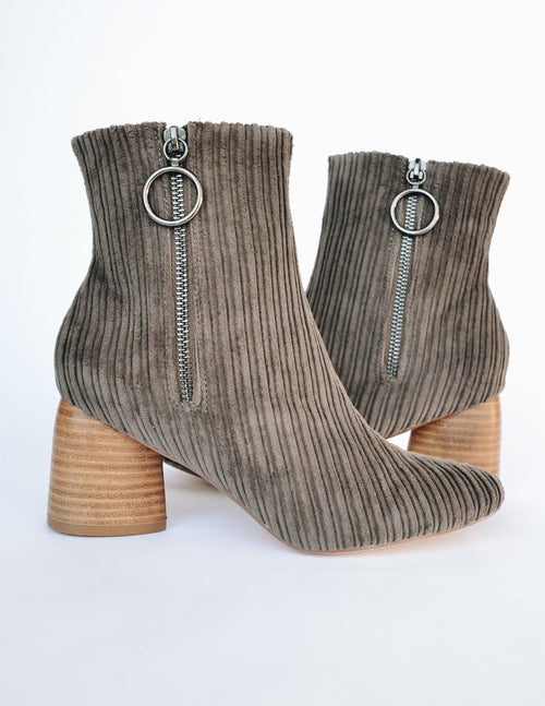 Taupe menlee corduroy bootie with teardrop shaped heel and side zipper