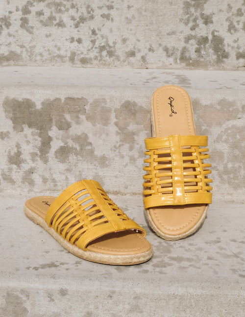 Yellow cage upper sandals with tan insole and rope wrapped sole