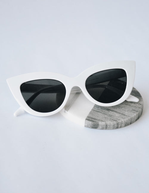 CAT EYE SUNGLASSES - White - Elle Bleu Shoe Boutique