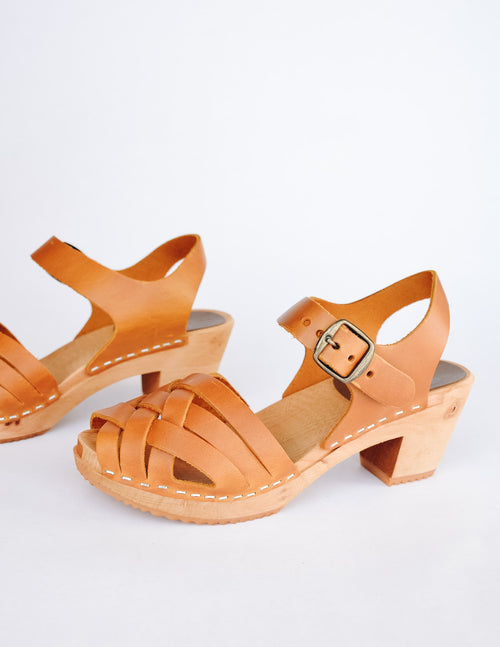 Tan mia dream weaver clog with open toe and woven upper