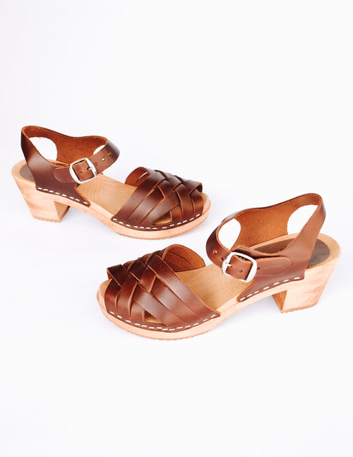 Brown mia dream weaver clog on white background - elle bleu shoes