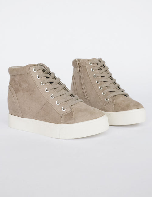 MOXIE SNEAKER WEDGE - Grey - Elle Bleu Shoe Boutique