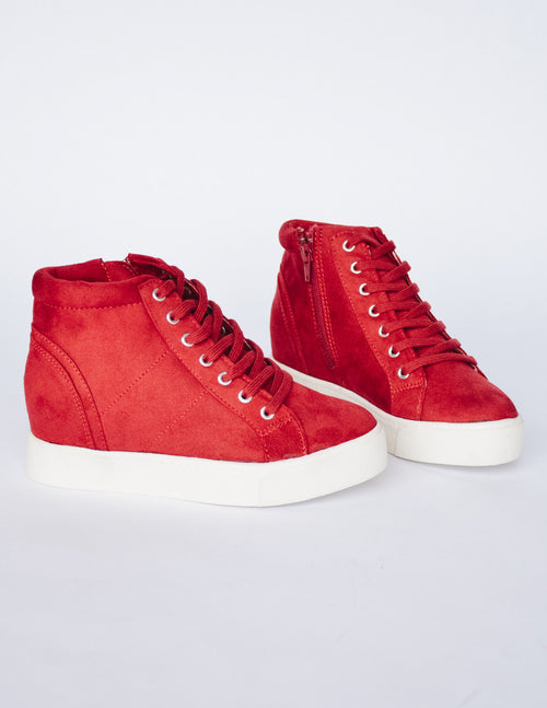 MOXIE SNEAKER WEDGE - Cherry - Elle Bleu Shoe Boutique
