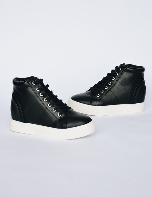 MOXIE SNEAKER WEDGE - Black - Elle Bleu Shoe Boutique