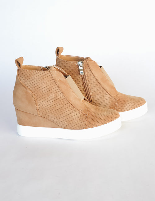 Camel Zoey sneaker wedge with elastic strap and hidden heel - Elle Bleu Shoe Boutique