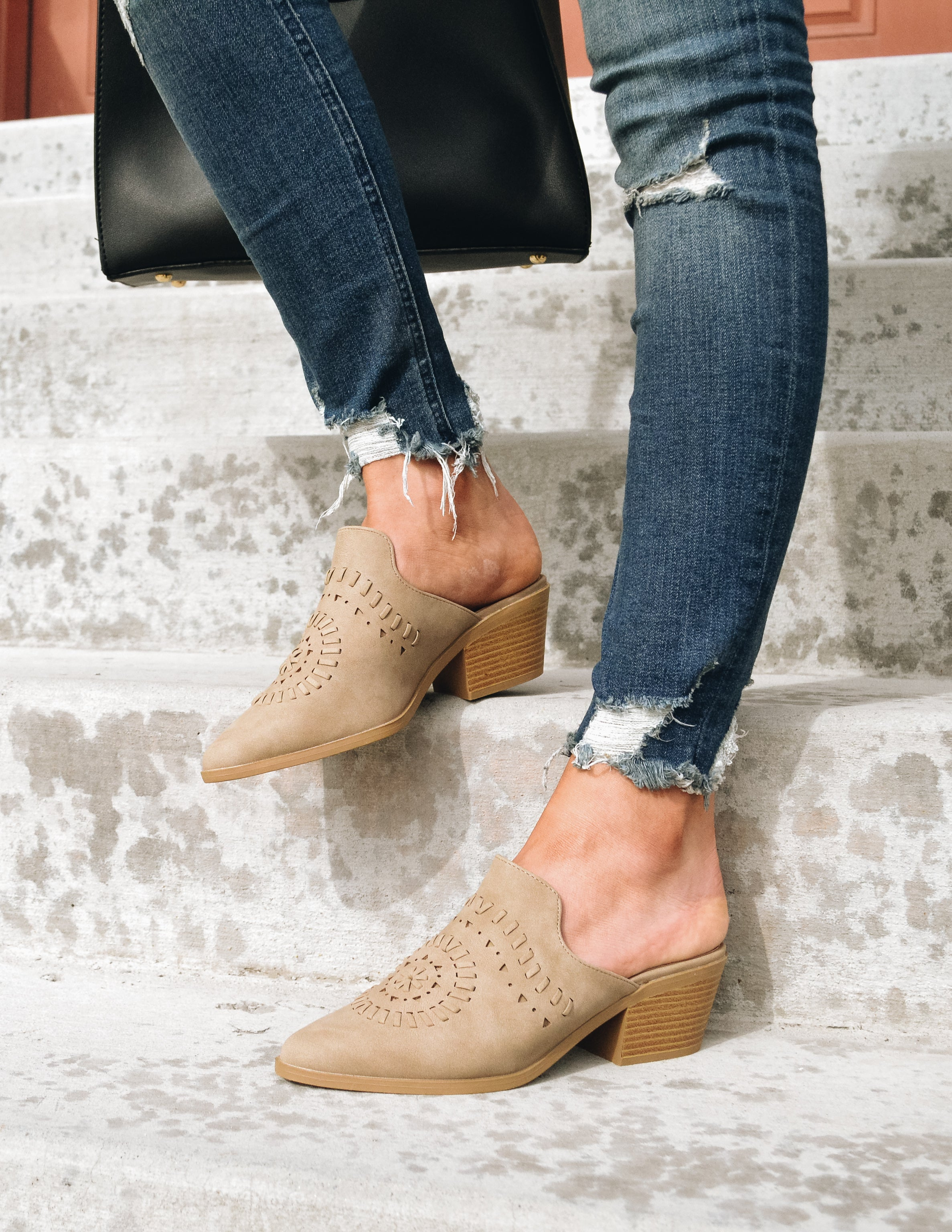 TAKE THE CAKE MULE - Warm Taupe - Elle Bleu Shoe Boutique