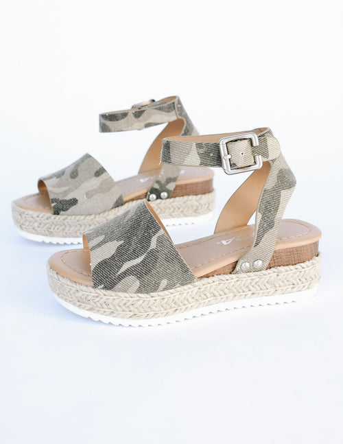 Camo walkin' on sunshine platforms with rope wrapped sole and faux wood