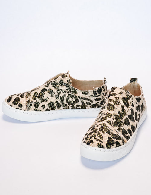 Leopard get your sneak on sneaker on white background - elle bleu