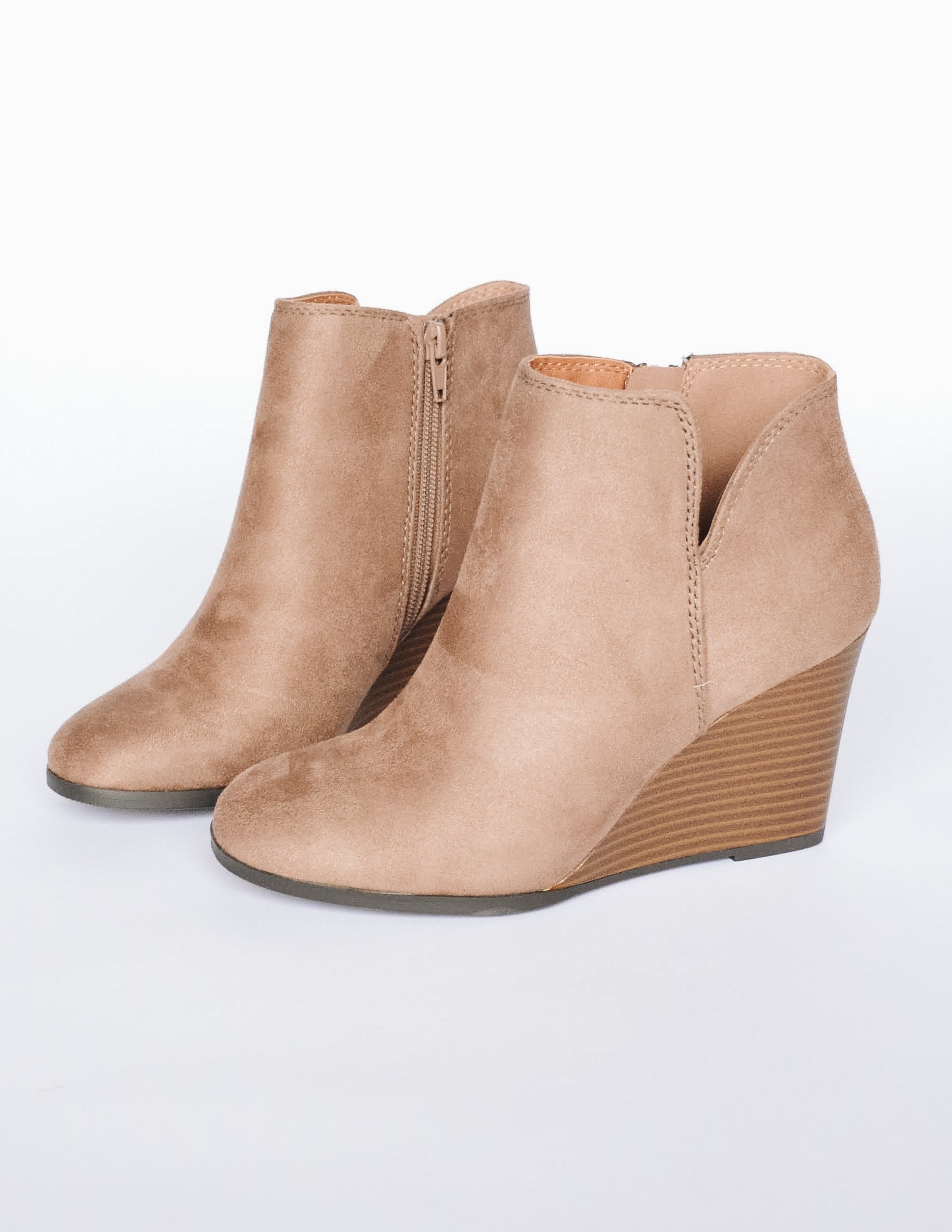 Taupe faux suede wedge heel with small v cut on the side