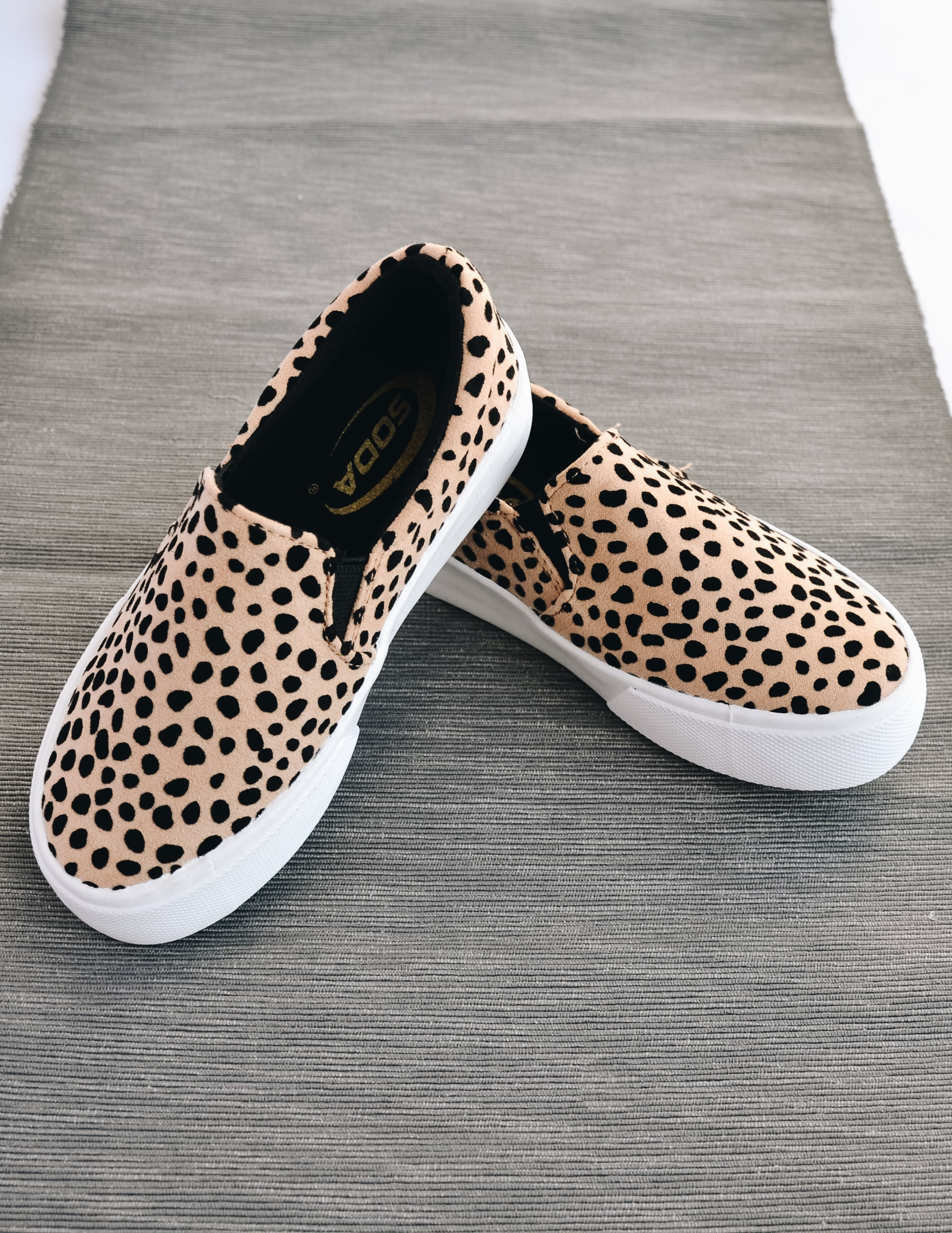 cheetah stand tall platform sneaker on grey background - elle bleu shoes