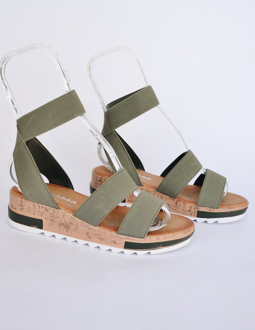 Olive stroll with it sandal on white background - elle bleu shoes