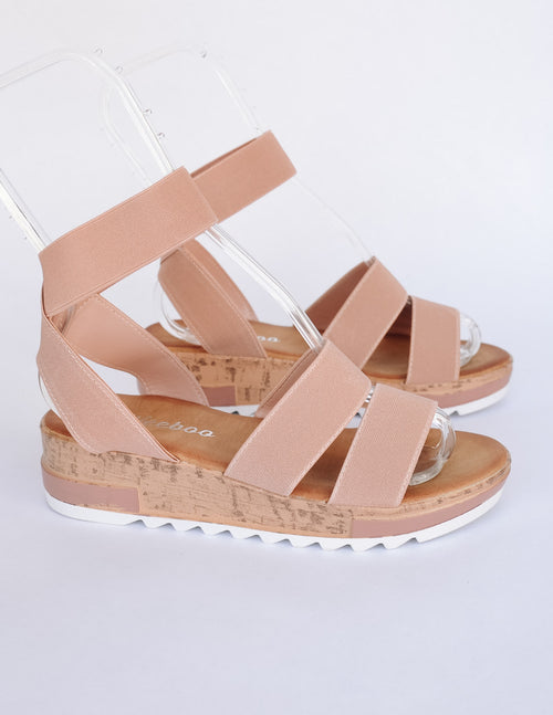 Dusty pink stroll with it sandal on white background - elle bleu shoes