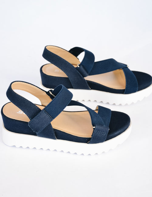 Navy blue platform wedge sandal with chunky white tread