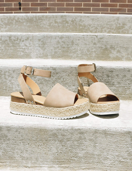 Taupe espadrille platforms with white bottom and faux wood accent