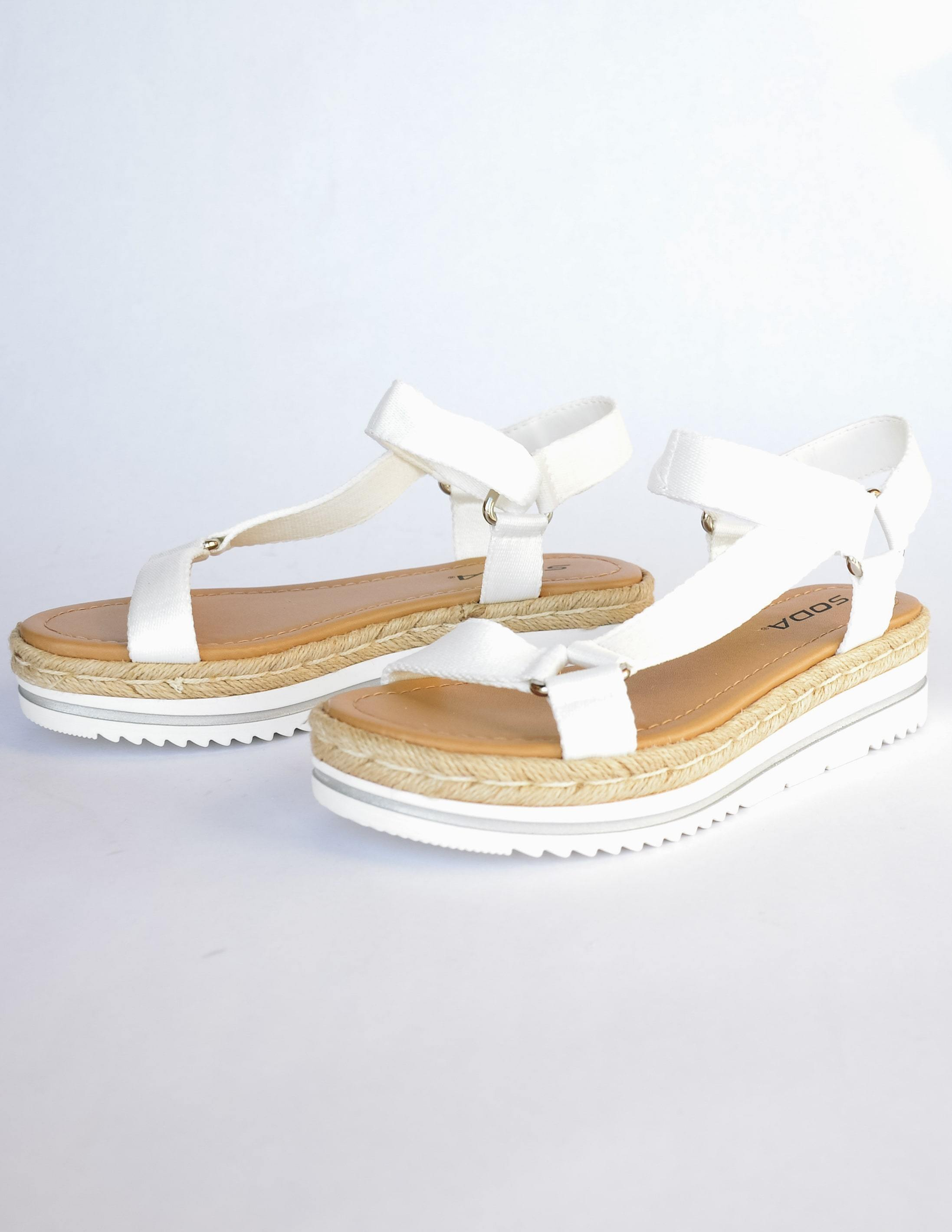 White sporty strap sandal with tan insole and white platform sole - elle bleu