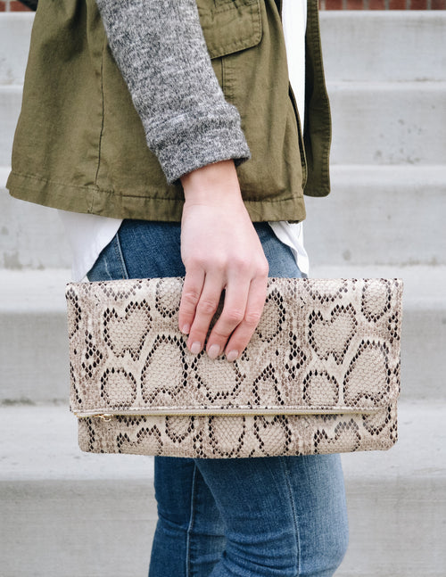 JULIA CLUTCH - Brown Snake - Elle Bleu Shoe Boutique